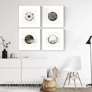 zestaw 4 grafik 30x30 cm wykonanych ręcznie, grafika czarno-biała, abstrakcja