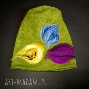 ręcznie wykonane czapki czapka wełniana filcowana zielona zimowa handmade