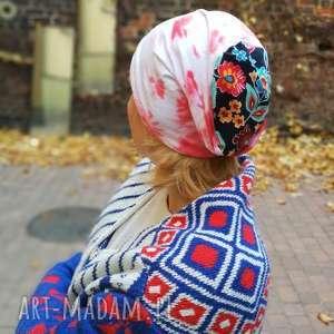 czapka dzianinowa damska dresowa farbowana folk boho, etno, kolorowa