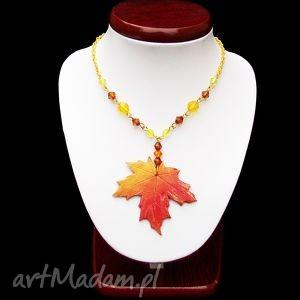 naszyjnik jesienny liść - jesienny, naszyjnik, liść, klonu, modelina