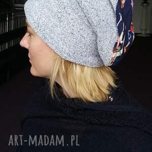 czapka damska szara z panienkami, etno, boho