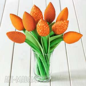 tulipany, pomarańczowy bawełniany bukiet - tulipany, kwiaty, bukiet, prezent