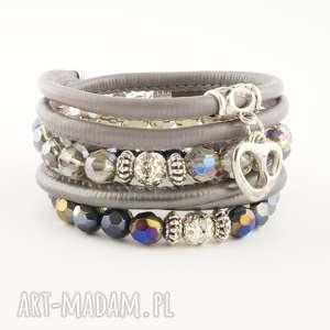 gray elegance, bransoletka, szkło, rzemień, ekologiczny, komplet
