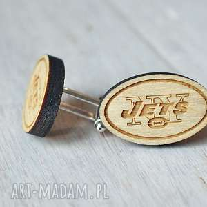 drewniane spinki do mankietów ny jets - spinki, drewniane, rugby, sport, ekologiczne