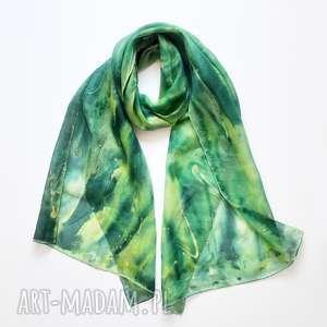 jedwabny malowany szal - zielona otchłań - jedwabny szal, jedwab, malowany szal