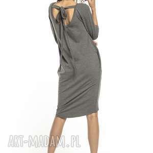 elegancka sukienka wiązana z dekoltem na plecach, t298, szara, sukienka, tuba