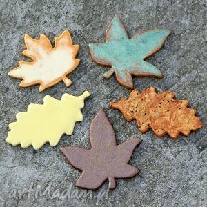 Jesienne liście, jesień, ceramika, magnesy, kuchnia