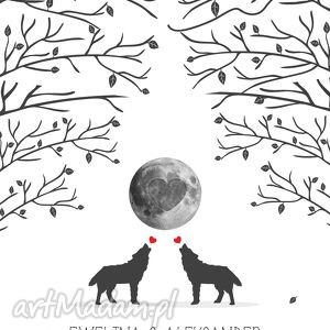 Obraz na płotnie 50x70 cm - wilki wyjace z miłości 3 tusze