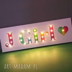hand-made pokoik dziecka napis led imię twoje słowo prezent tęczowy obraz lampa