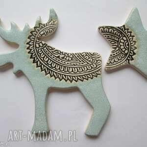 zestaw miętowych magnesów zimowych - ,magnesy,świąteczne,ozdoby,dekoracje,mały,upominek,