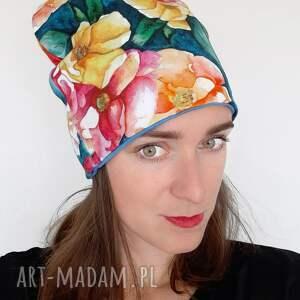 czapka no 02, bawełniana, cienka czapka, malowane kiwaty, wzór kwiatowy