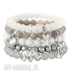 grey silver & white set - słonik, miś, agat