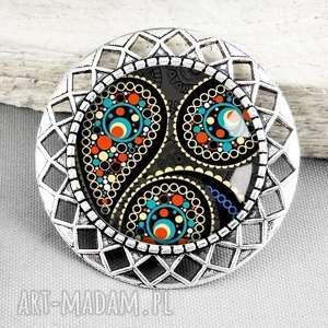 magic orient broszka stylowa z grafiką za szkłem - czarna, orientalny, stylowy
