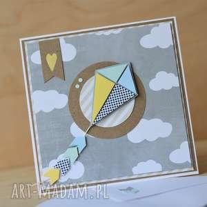 kartka z latawcem - latawiec, roczek, urodzinowa, letnia, wiosenna, kartka