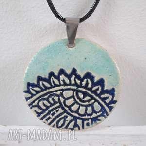 naszyjnik błękit z granatem - etniczny, ceramiczny, na-prezent, indyjski