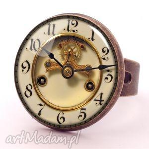 Zegar - Pierścionek regulowany - ,zegar,pierścionek,regulowany,vintage,elegancki,szkła,