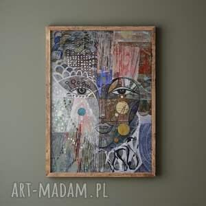 plakat 50x70 cm - kryza, plakat, wydruk, twarz, postać, kobieta, portret