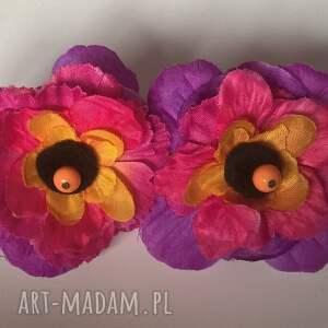 klipsy kwiatowe duże lekkie, kwiaty, klipsy, duże, kobiece, boho