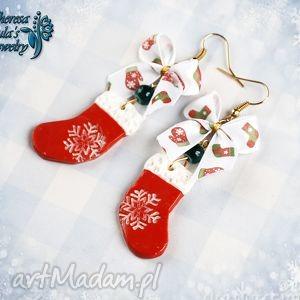 świąteczne kolczyki skarpety, świąteczne, kolczyki, mikołajowe