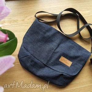 handmade torebki listonoszka ciemny denim na ramię dżinsowa