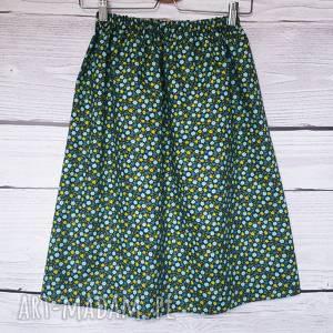 ubrania wersja długa gustowna granatowa spódnica w kwiatki, wygodna bawełniana