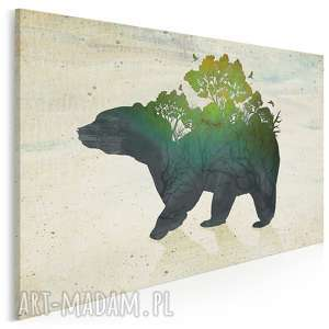 obraz na płótnie - niedźwiedź natura las 120x80 cm 17001, niedźwiedź, miś