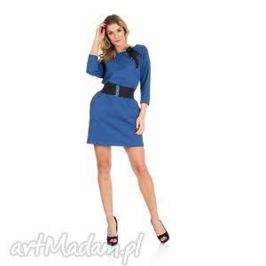 45-sukienka z kokardą,c.niebieska,rękaw 3/4,pasek , lalu, sukienka, dzianina, bawełna