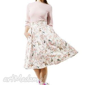 Spódnica Amore , spódnica, ptaszki, rozkloszowana, tiul, pudrowa, elegancka