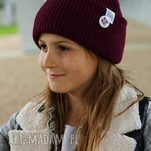 czapki bordowa czapka dziecięca logo kolor, kids beanie, wywijana