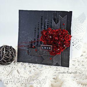 mroczna acz namiętna - walentynka z sercem vairatka handmade - róże