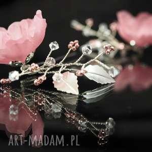 różowe kokówki, swarovski, ozdoba, kryształ, kwiat, ślub