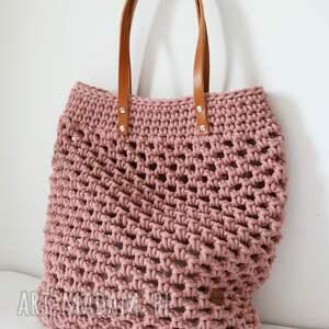 szydełkowa torba ażurowa ze sznurka bawełnianego, na zakupy, shopperka