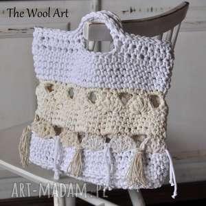 the wool art szydełkowa torba plażowa, torba, torebka, plażowa