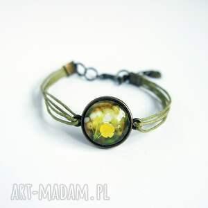 bransoletka - żółty kwiat zielona, brąz, bransoletka, sznurki, grafika