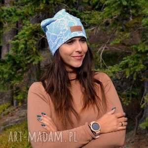 czapka beanie niebieska uniwersalna, czapka, beanie, ciepła dresówka