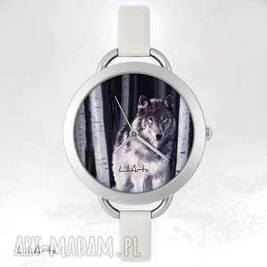 zegarek, bransoletka - szary wilk, bransoletka, skórzana, etniczny