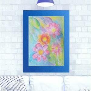 Kolorowy rysunek z kwiatami, kwiaty obrazek do salonu, salonu