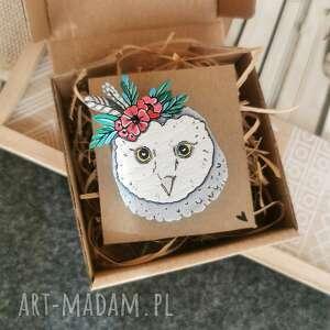 broszka sówka (sowa, ręcznie malowana, ptaki, drewno naturalne, zwierzęta)