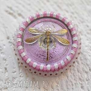 Prezent shiny buttons ::dragonfly::, ważka, haft, koraliki