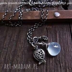 prywatne oczko wodne naszyjnik z chalcedonu i srebra, chalcedon, kropla, srebro