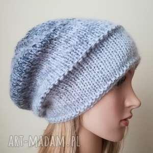 w szarościach z jedwabiem, rękodzieło, czapka, styl, bezszwowa, dwustronna, zima