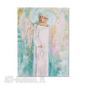 Anioły Dwa, obraz ręcznie malowany, anioł, anioły, para, obraz, ręcznie,