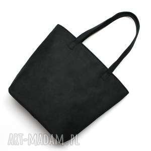 upominek święta Shopper Bag Bucket - zamsz czarny, elegancka, nowoczesna, pakowna