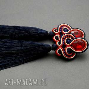 granatowo-czerwone kolczyki sutasz z chwostami, sznurek, wiszące, długie