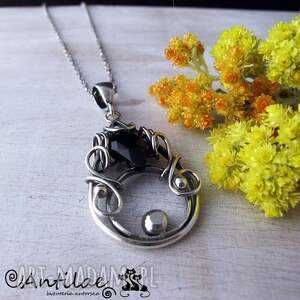 Katran - Spinel, srebro, wire wrapping, spinel, naszyjnik, srebro