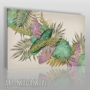 obraz na płótnie - liście dżungla 120x80 cm 51401, liście, dżungla, rośliny