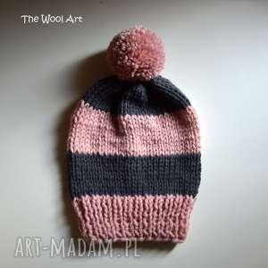 czapka pink-gray, czapka, dziecko, na-głowę, cap, wełniana, dla-dziecka