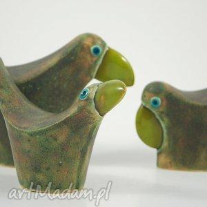 Wróble w zieleni - ,zwierzęta,ptaki,figurki,ceramika,dekoracja,