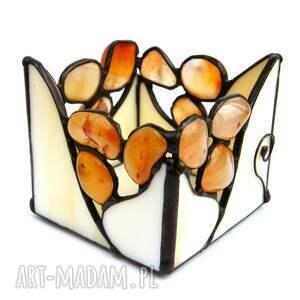 świecznik beżowy z karneolem, witrażowy, kamieni