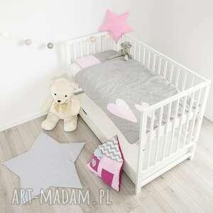 pokoik dziecka pościel do łóżeczka dwa serca jasny róż, pościelwserduszka, kołderka